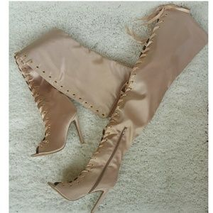 Thigh High Blush Satin Lace up Boot size 6